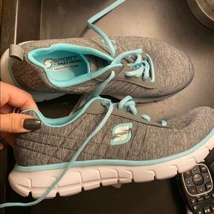 Sketcher sneakers gray and minty blue